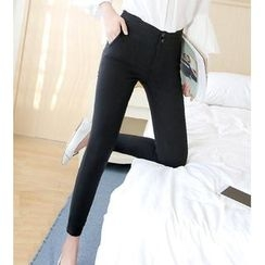 Jenny's Couture - Buttoned High-Waist Skinny Pants