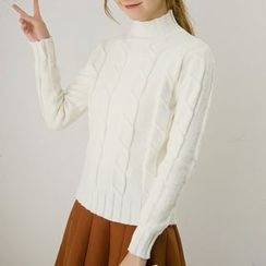 Honey House - Ribbed Mock-neck Knit Top