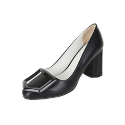 DABAGIRL - Buckle Chunky-Heel Colored Pumps