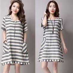 Salisha - Striped Short Sleeve T-Shirt Dress