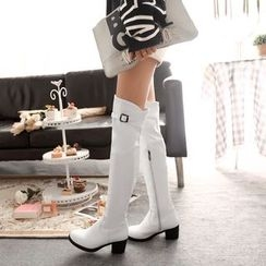 Pastel Pairs - Buckled Block Heel Over-the-Knee Boots