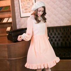 Tokyo Fashion - Long-Sleeve Lace-Panel Dress
