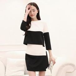 AiSun - Set: 3/4-Sleeve Two-Tone Top + Wrap Pencil Skirt