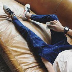 Besto - Contrast Stitching Slim-Fit Jeans
