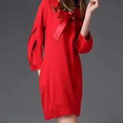 Mythmax - Bow-Accent Long-Sleeve Dress
