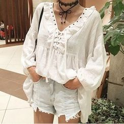 trendedge - Frill Trim Eyelet Lace Up Long Sleeve Top