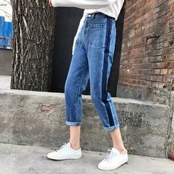 MePanda - Two-Tone Cropped Jeans