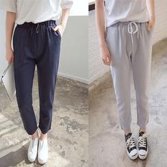 Carabecca - Plain Drawstring Harem Pants