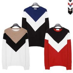 Seoul Homme - Color-Block Knit Top