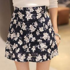 Cherryville - Floral Pattern A-Line Mini Skirt