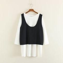 Mushi - Set: Plain Long-Sleeve T-Shirt + Sleeveless Top