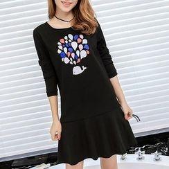 Q.C.T - Print Long-Sleeve Dress