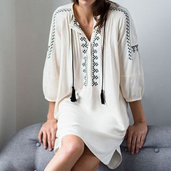 Sunset Hours - Embroidered Tassel Cover-Up Dress