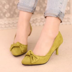 IYATO - Pointy-Toe Bowed Kitten-Heel Pumps