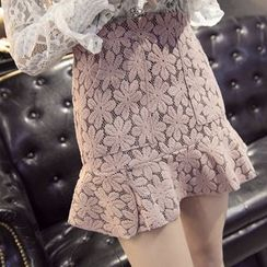 Ivena - Ruffled Lace A-Line Skirt