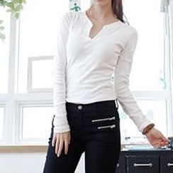 Lina - Long-Sleeve Open-Placket T-Shirt