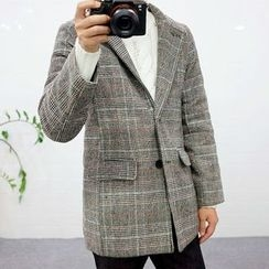 Seoul Homme - Single-Breasted Glen-Plaid Blazer