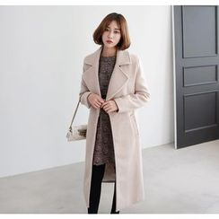 Miamasvin - Wide-Collar Hidden-Button Wool Blend Coat