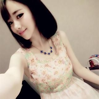 DreamyShow - Sleeveless Floral Ballon Hem Dress