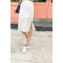 CHERRYKOKO - Perforated Lace Midi Skirt