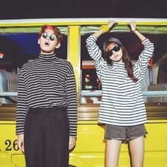 Tiny Times - Striped High-Neck Long-Sleeve T-Shirt
