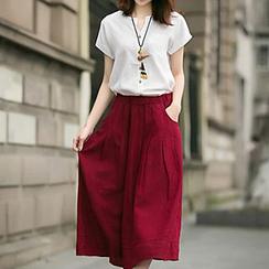lilygirl - Set: Short-Sleeve Blouse + Midi Skirt