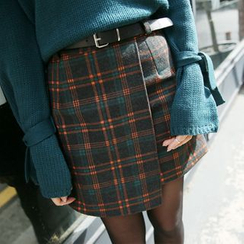 Envy Look - Wrap-Front Check Mini Skirt with Belt