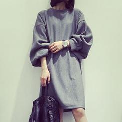 HL哈喽妹妹 - 垂肩罗纹连衣裙