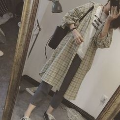 Color7 - Long-Sleeve Plaid Long Blouse