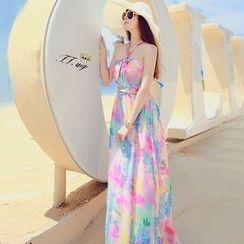 chic n' fab - 碎花挂脖沙滩长裙