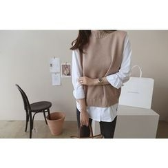 DAILY LOOK - Inset Knit Top Cotton Shirt