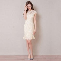 Royal Style - Cap-Sleeve Sheath Lace Cocktail Dress