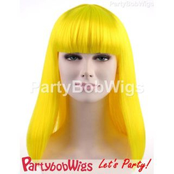 Party Wigs - PartyBobWigs - Party Long Bob Wig - Neon Yellow