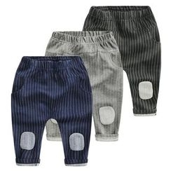 lalalove - Kids Patchwork Pinstriped Pants