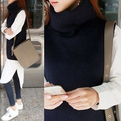 NIPONJJUYA - Turtle-Neck Sleeveless Wool Blend Knit Top