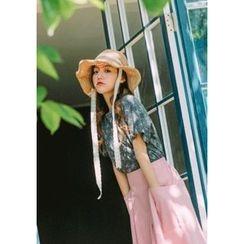 GOROKE - Inset-Wire Laced Straw Sun Hat