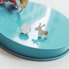 Jael - Non-matching Reindeer Snowflake Sterling Silver Earrings