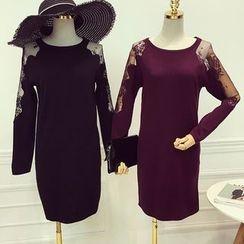 Octavia - Lace Trim Long Sleeve Knit Dress