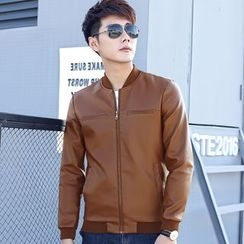 Bingham - Faux Leather Bomber Jacket
