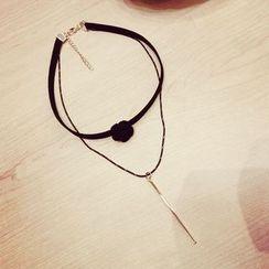 Ticoo - Bar Pendant Layered Necklace