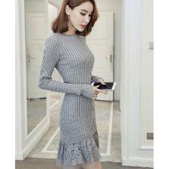 Romantica - Long-Sleeve Lace Panel Knit Dress