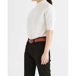 Someday, if - Mock-Neck Angora-Wool Blend Knit Top