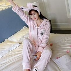 Honeydew - Pajama Set: Long Sleeve Top + Pants + Rabbit Ear Headband