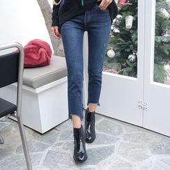 DABAGIRL - Cutout-Hem Straight-Cut Jeans