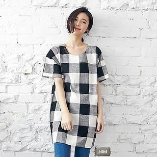 LULUS - Short-Sleeve Check Long Top