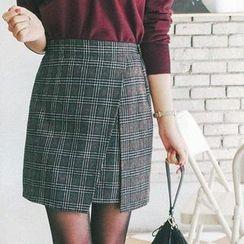 mimi&didi - Flap-Front Plaid Mini Skirt
