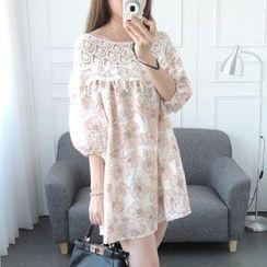 CYNTHIA - Lace-Panel Floral Tunic