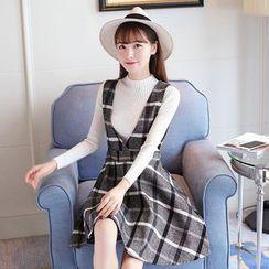 Ashlee - 套装: 高领长袖针织上衣 + 格子V领吊带裙