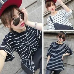 QZ Lady - Elbow-Sleeve Striped Top