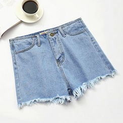 Ashlee - Fray Hem High-Waist Denim Shorts
